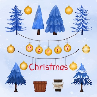 Christmas trees and decoration greeting card