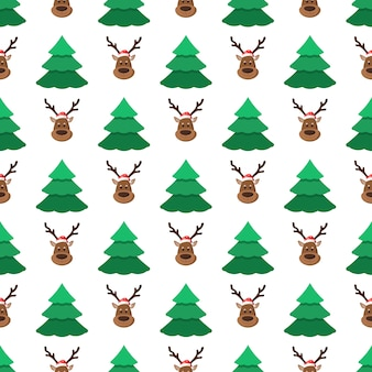 Christmas trees and deer in santa hat on a white background christmas seamless pattern holidays vector illustration in trendy flat style for wallpapers pattern fills web page backgrounds