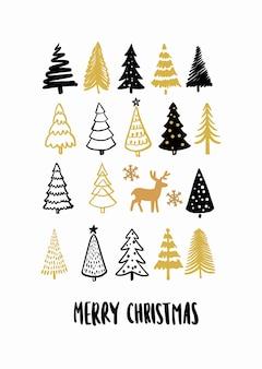 크리스마스 트리. 손 그리기 겨울 전나무 나무 카드입니다. 새해 상징