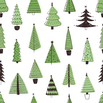 Christmas trees hand drawn seamless pattern. evergreen fir trees doodle style texture