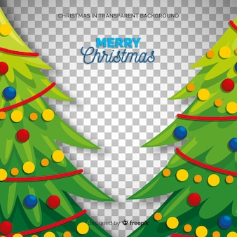 Christmas trees illustration transparent background