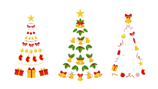 Christmas trees made of bells garland and decorating festive elements for christmas and new year