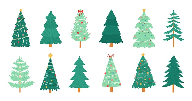 Christmas trees. merry xmas decorated tree with candles, candy, toys, star and tinsel. new year traditional winter holiday pine vector set. illustration merry decoration christmas tree, winter holiday