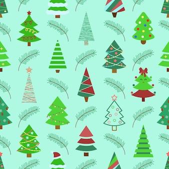 クリスマスツリーは松もみの木の枝と新年のシームレスな緑の背景をパターンしますベクトル