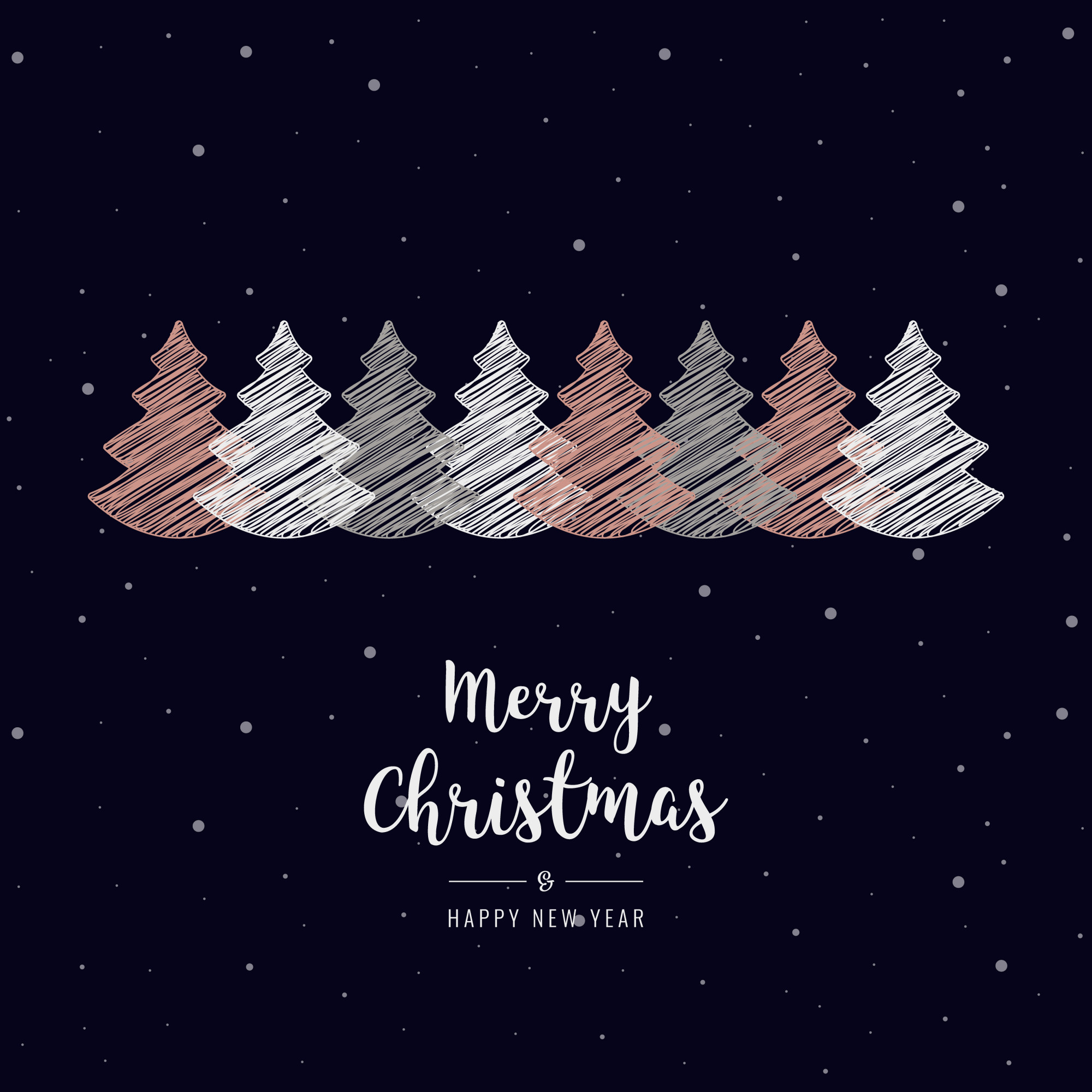 Christmas trees scribble greeting rose gold snow background