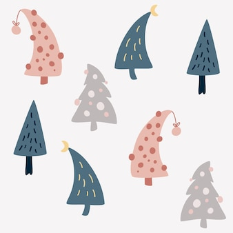 Christmas trees seamless pattern. scandinavian style. holiday decoration background for wallpaper, clothing, packaging invitations, posters. vector cartoon illustration.