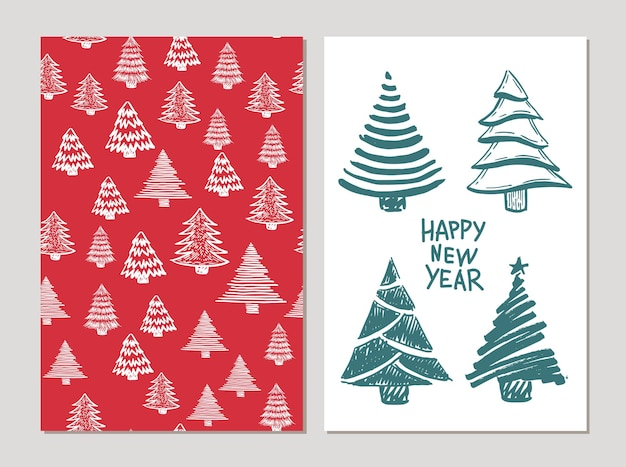 Christmas trees set hand drawnillustration