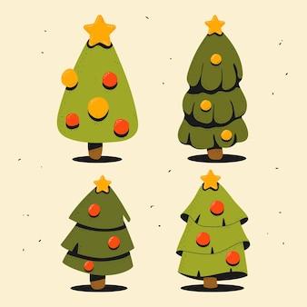 배경에 고립 된 최고 벡터 만화 세트에 골드 스타와 함께 크리스마스 트리.