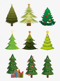 Christmas trees with icons set