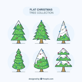Christmas trees with lights in flat design