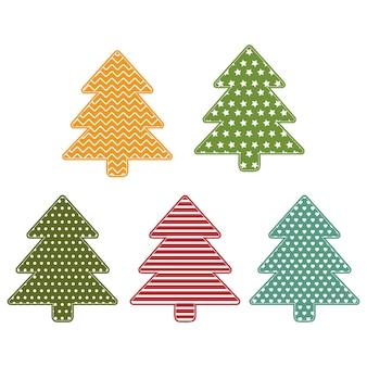 Рождественские елки с украшениями, цветные векторные иллюстрации фона белый