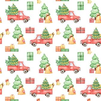 크리스마스 트럭 원활한 패턴 벡터 배경