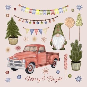 Рождественский грузовик с гномом и деревом