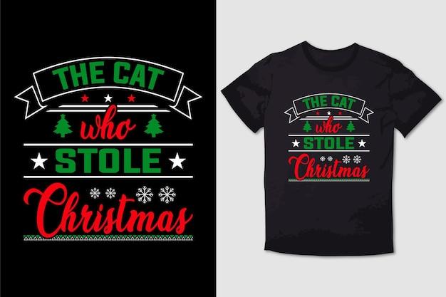 Christmas tshirt design the cat who stole christmas