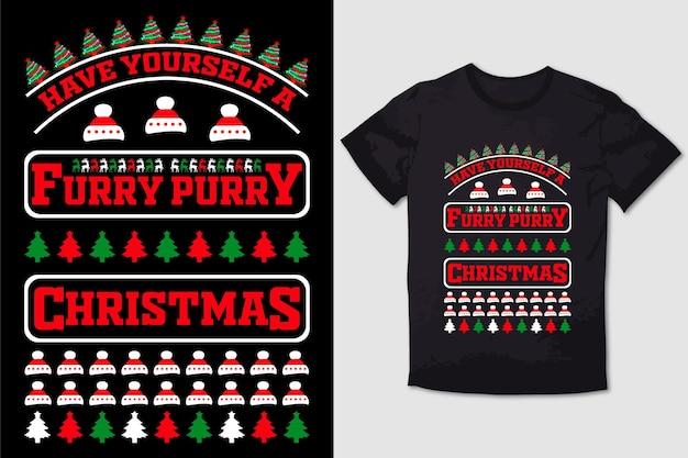 크리스마스 티셔츠 디자인 모피 퍼리 크리스마스를 보내십시오