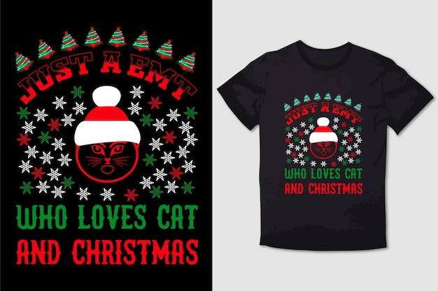 크리스마스 티셔츠 디자인 고양이와 크리스마스를 사랑하는 emt