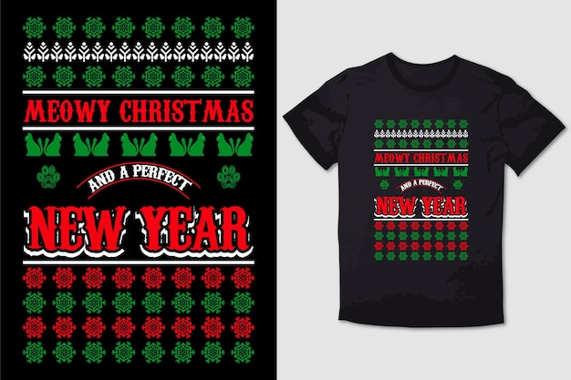 Christmas tshirt design meowy christmas and a purrfect mew year