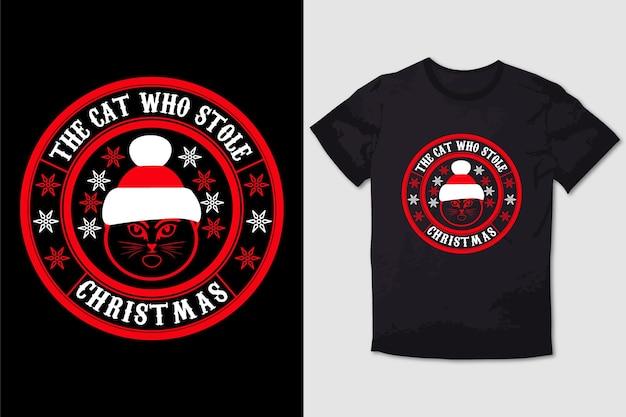Рождественский футболка дизайн кошки, украдной рождество