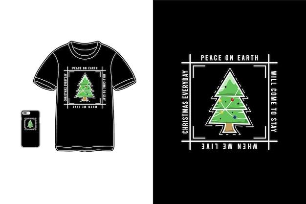 クリスマスtシャツ商品ヒノキの木型モックアップ