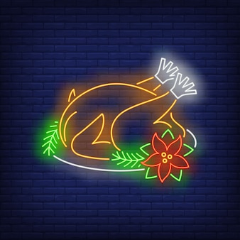 Christmas turkey in neon style