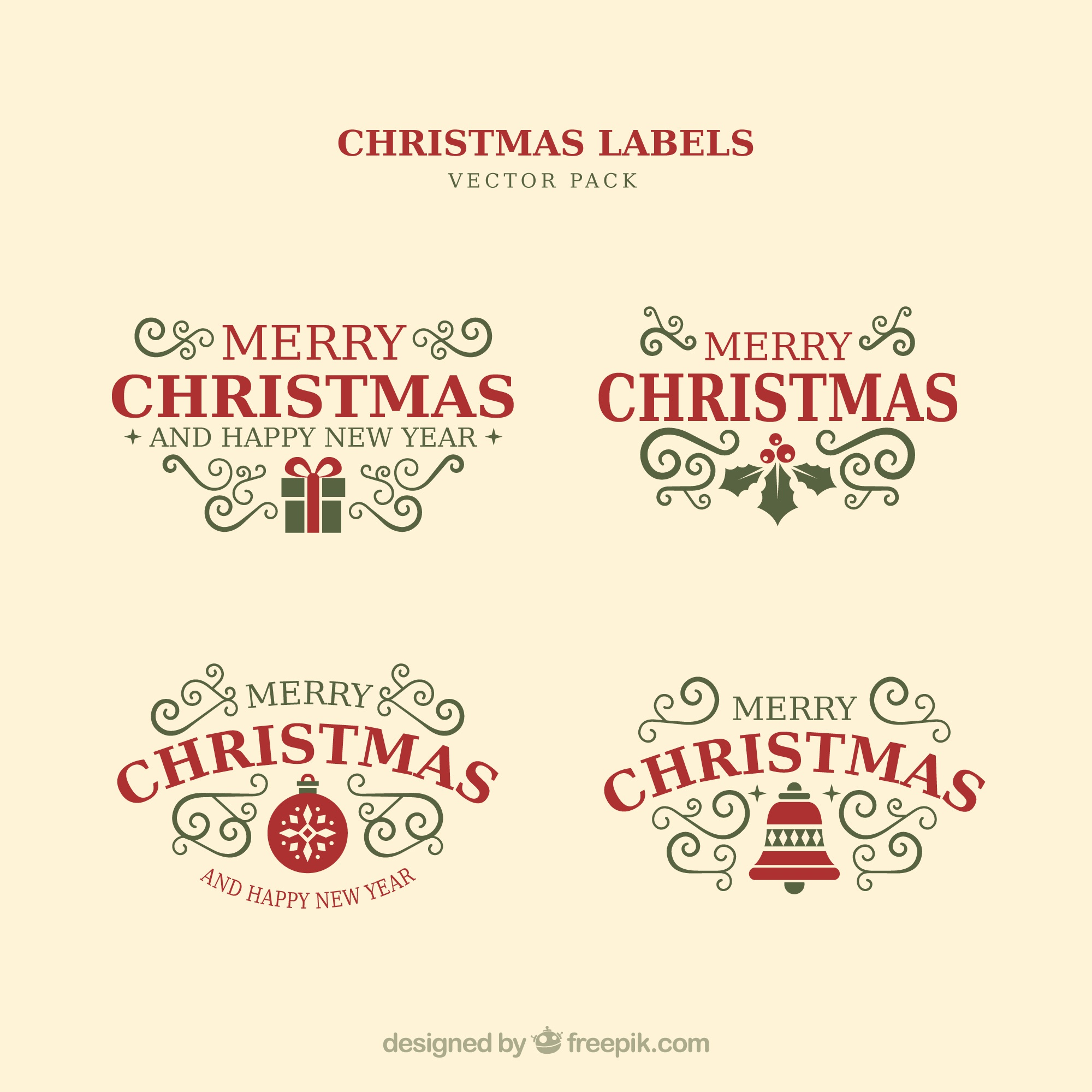 Christmas typographic elements, vintage labels and ribbons