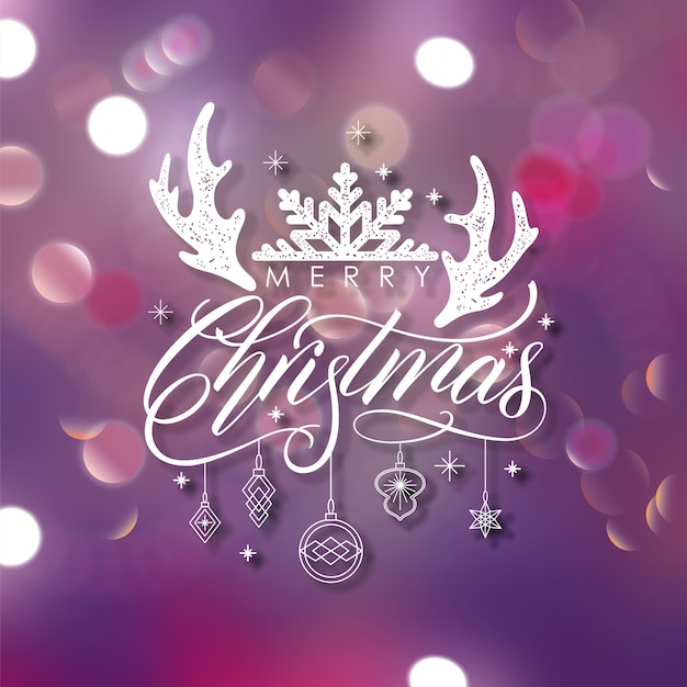 Christmas typographical background with elements