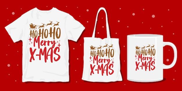 クリスマスタイポグラフィレタリングtシャツ
