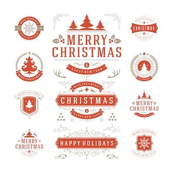 Рождественская типография богато украшенные этикетки и значок