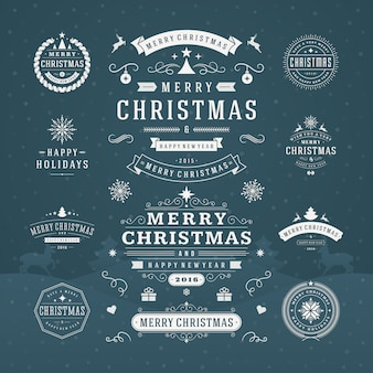 Рождественская типография богато украшенные этикетки и значки