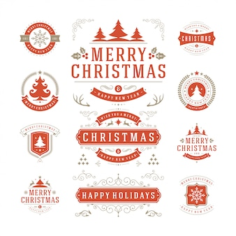 Christmas typography ornate labels and badge