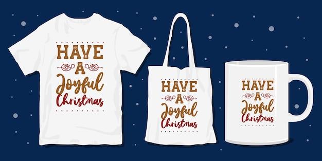 크리스마스 타이포그래피는 티셔츠와 상품에 대한 디자인을 인용합니다.