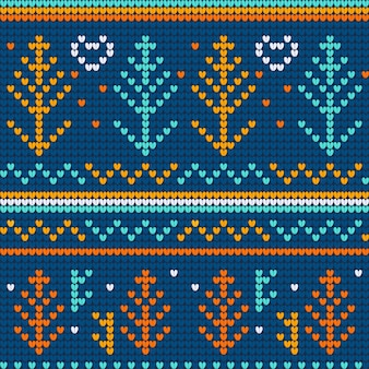 Christmas ugly sweater blue seamless pattern