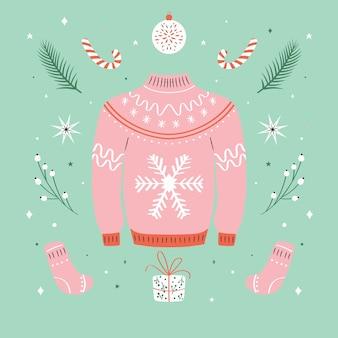 Рождественский уродливый свитер иллюстрация