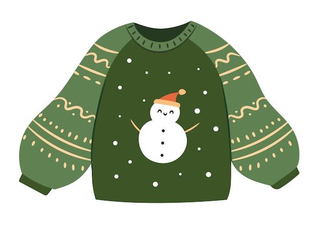 Рождественский уродливый свитер, изолированные на белом фоне. симпатичный зимний свитер. плоские векторные иллюстрации