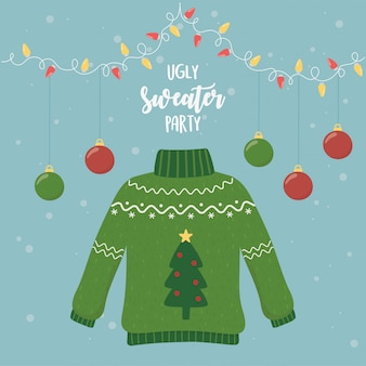 Christmas ugly sweater party hanging balls lights