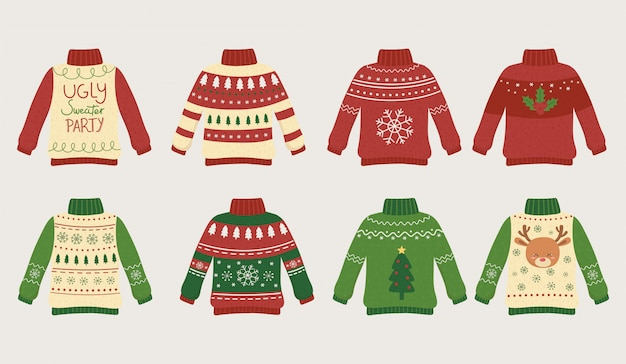 Christmas ugly sweaters party differents