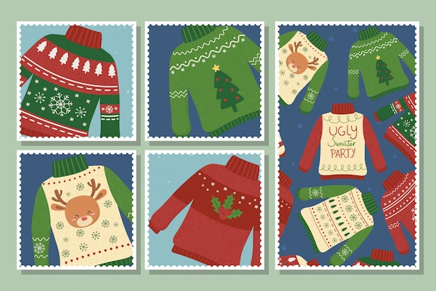 Christmas ugly sweaters party postcards collection