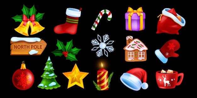 Рождественский интерфейс игры набор иконок вектор зимний праздник символ коллекция рождественский мультфильм объект комплект