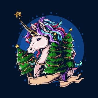 아름다운 크리스마스 트리와 함께 크리스마스 이브에 크리스마스 유니콘
