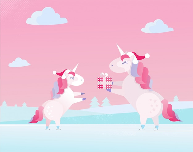 Christmas unicorn in santa claus cap gives present in festive box to small unicorn child