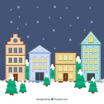 Christmas urban landscape background in flat design