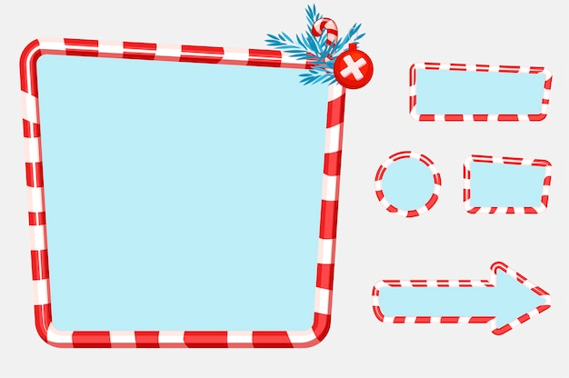 Christmas user interface and elements for game or web design buttons, boards and frame. objects on a separate layer.
