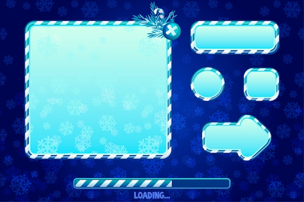 Christmas user interface and elements for game or web design. cartoon buttons, boards and frame. game loading ui.