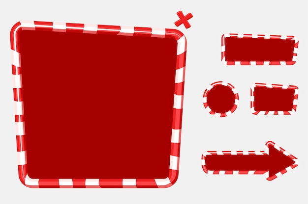Christmas user interface for mobile or computer game design. buttons, boards and frame