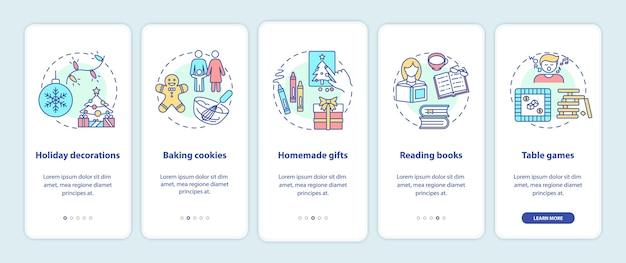 Идеи рождественских каникул на экране страницы мобильного приложения с концепциями