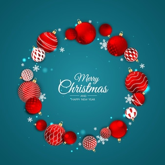Christmas vector background. creative design greeting card, banner, poster. top view xmas decoration balls and snowflakes.