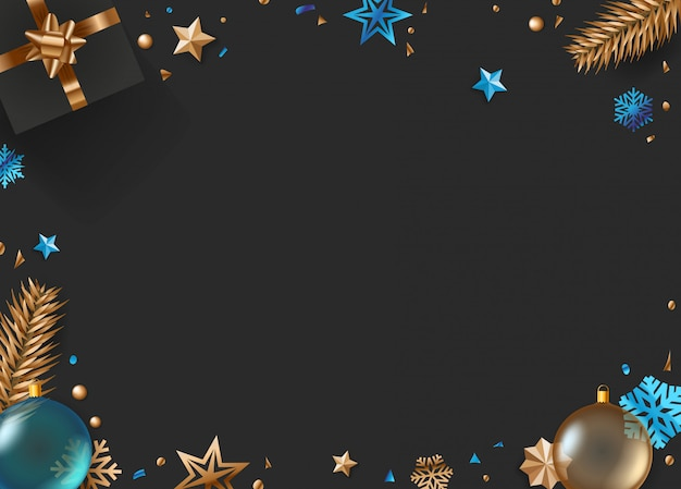 Christmas vector background with gift box and holiday accessories