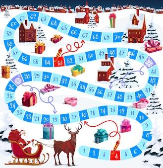 クリスマスのベクトルボードゲームまたは漫画のサンタと冬の休日の村のパズル。サイコロボードゲームは、最初から最後まで番号の付いたステップで、サンタとトナカイがクリスマスプレゼントを届けるのを助けます