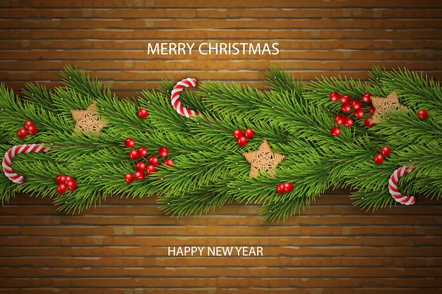 Christmas vector on brick background with wishes, pine branches, berries.