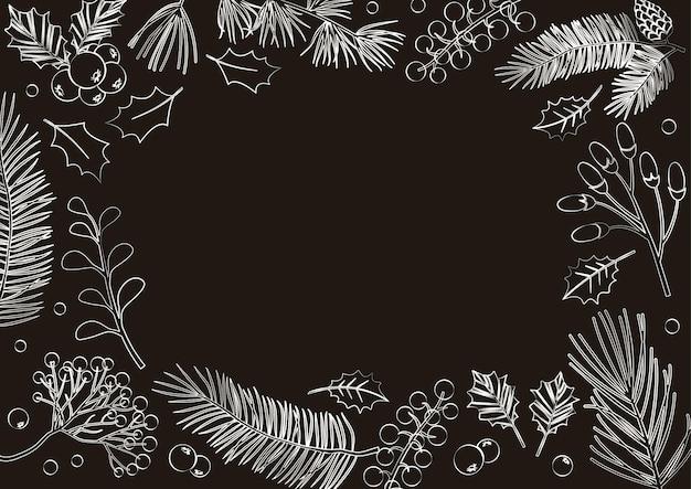 크리스마스 벡터 카드, 빈티지 프레임, 겨울 배경. 나뭇가지, 전나무, 솔방울, 식물, 홀리 베리, 크리스마스 트리, 잎, 휴일 장식. 자연 그림